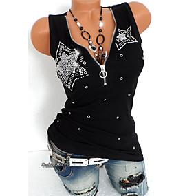 economico Offerte giornaliere-T-shirt - Taglie forti Per donna Punk & Gotico Con lustrini, Tinta unita A V scollato / Estate / Taglia piccola