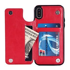 voordelige Telefoons en accessoires-hoesje Voor Apple iPhone X / iPhone 8 / iPhone XS Portemonnee / Kaarthouder / met standaard Achterkant Effen Hard PU-nahka voor iPhone XS / iPhone XR / iPhone XS Max