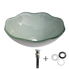 billige Frittstående vask-Baderomsvask / Baderom Monteringsring / Baderom Vannavløp Moderne - Herdet Glass Rund Vessel Sink