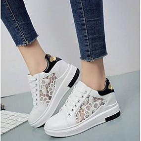 voordelige Damessneakers-Dames Sneakers Britse stijl geruite schoenen Platte hak Gesloten teen  PU Comfortabel Lente zomer Wit / Zwart
