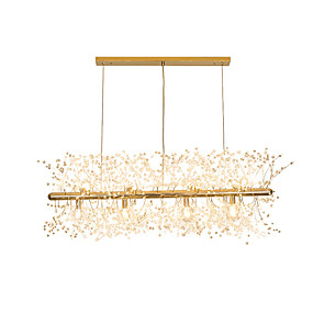 cheap Chandeliers-LED Chandeliers Firework Stainless Steel Crystal Island Pendant Lighting With 12-Lights G9 Bulb Base Electroplated Gold Finish