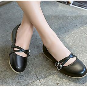abordables Chaussures Plates pour Femme-Femme Ballerines Talon Plat Bout rond Polyuréthane Confort / Mary Jane Printemps été Rouge / Bleu / Rose