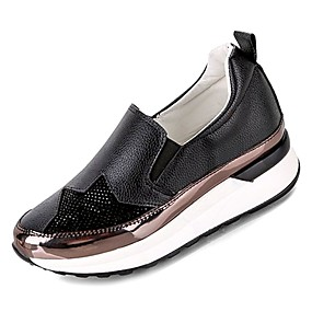 voordelige Damesinstappers & loafers-Dames Loafers & Slip-Ons Creepers Ronde Teen PU Comfortabel Zomer Wit / Zwart
