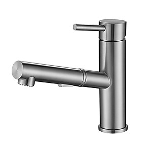 cheap Faucet Sets-Bathroom Sink Faucet / Faucet Set - Pullout Spray / New Design Brushed Free Standing Single Handle One HoleBath Taps