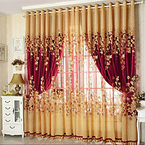 cheap Sale-Blackout Curtains Drapes Two Panels Living Room Floral 100% Polyester Jacquard