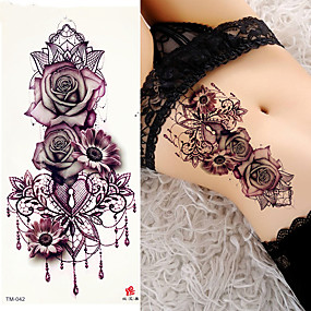 cheap Temporary Tattoos-decal-style-temporary-tattoos-arm-shoulder-temporary-tattoos-3-pcs-flower-series-romantic-series-smooth-sticker-safety-body-arts-party-evening-daily