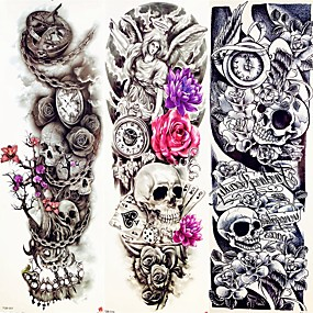cheap Temporary Tattoos-decal-style-temporary-tattoos-arm-leg-temporary-tattoos-3-pcs-animal-series-flower-series-smooth-sticker-eco-friendly-disposable-body-arts-halloween