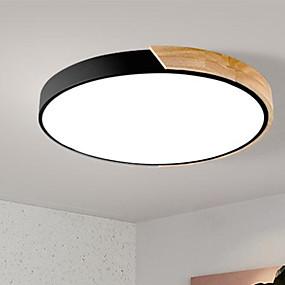 tanie Mocowanie przysufitowe-Okrągły Podtynkowy Światło rozproszone Malowane wykończenia Drewno Metal Drewno / Bambus Przejście kolorów 220-240V Przyciemnianie pilotem Źródło światła LED w zestawie / LED zintegrowany