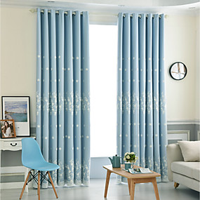 cheap Curtains & Drapes-Modern Blackout Curtains Drapes Two Panels Curtain & Sheer / Embroidery / Bedroom
