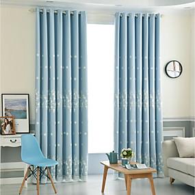 billige Mørkleggingsgardiner-Moderne Blackout Gardiner To paneler Curtain & Sheer / Broderi / Soverom