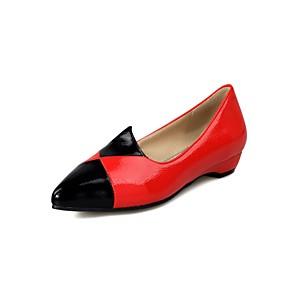 voordelige Damesschoenen met platte hak-Dames Platte schoenen Comfort schoenen Platte hak Gepuntte Teen PU Studentikoos Lente & Herfst Wit / Zwart / Rood / Kleurenblok