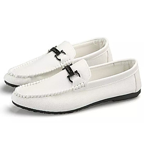 d978307e49 Men s Moccasin Faux Leather   PU(Polyurethane) Fall Loafers   Slip-Ons  White   Black   Red