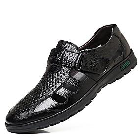 povoljno Muške sandale-Muškarci Udobne cipele Koža Ljeto Sandale Crn / Braon