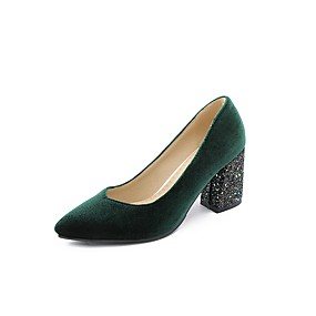 abordables Escarpins-Femme Escarpins Escarpins Talon Bottier Bout pointu Microfibre Chinoiserie Printemps & Automne Noir / Bourgogne / Vert foncé / Soirée & Evénement / Soirée & Evénement