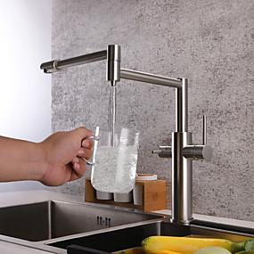 povoljno Kuhinjske slavine-Kuhinja pipa - Dvije ručke jedna rupa Nickel Brushed Standardna lijevak / Pot Filler Munkalapra szerelhető Suvremena Kitchen Taps