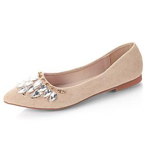 cheap Women's Flats-Women's PU(Polyurethane) Summer Comfort Flats Flat Heel Pointed Toe Rhinestone Black / Beige / Red