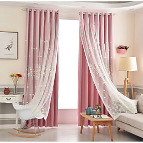 billige Mørkleggingsgardiner-Moderne Blackout Gardiner To paneler Curtain & Sheer / Broderi / Barnerom