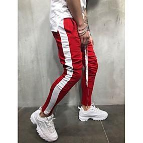 ราคาถูก Tendências de Verão 2019 – Para Eles-สำหรับผู้ชาย พื้นฐาน / Street Chic ขนาดพิเศษ ทุกวัน Sport กางเกงวอร์ม กางเกง - สีพื้น สีน้ำเงิน &สีขาว / สีดำและสีแดง / Black & White, ลายต่อ ฝ้าย ทับทิม สีเหลือง สายรุ้ง XL XXL XXXL