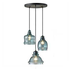 billige Hengelamper-QINGMING® 3-Light Mini Anheng Lys Nedlys Malte Finishes Metall Glass Mini Stil 110-120V / 220-240V Pære ikke Inkludert / VDE / E26 / E27