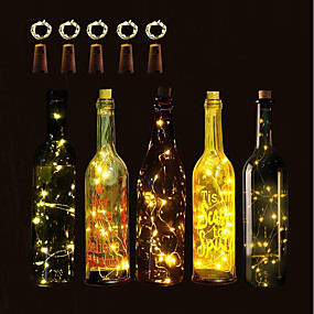 cheap Home & Garden-BRELONG 10 LED Wine Bottle Copper String Lights Christmas Halloween Wedding Party and Interior Decoration 5pcs