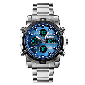 cheap -70%-Men's Sport Watch Military Watch Digital Watch Digital Stainless Steel Black / Silver 30 m Water Resistant / Waterproof Alarm Chronograph Analog - Digital Casual Fashion - Silver / Black Silvery