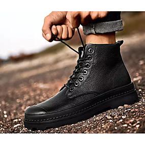 voordelige Wijdere maten schoenen-Heren Comfort schoenen Leer Herfst winter Laarzen Korte laarsjes / Enkellaarsjes Zwart / Legerlaarzen