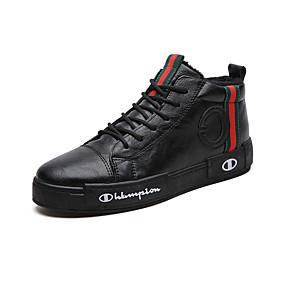 baratos Tênis Masculino-Homens Sapatos Confortáveis Couro Inverno Esportivo / Casual Tênis Manter Quente Preto / Verde