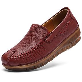 voordelige Damesinstappers & loafers-Dames Comfort schoenen Leer Herfst Vintage / Informeel Loafers & Slip-Ons Sleehak Zwart / Wijn
