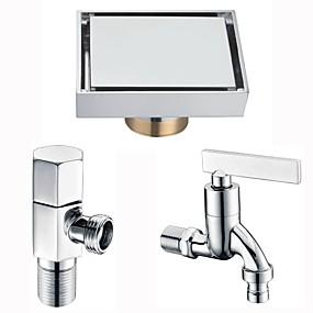 ราคาถูก ท่อระบายน้ำ-ท่อ มัลติฟังก์ชั่น ที่ทันสมัย ทองเหลือง 3 ชิ้น - ห้องน้ำ / อ่างอาบน้ำของโรงแรม ติดพื้น