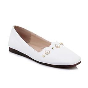 voordelige Damesschoenen met platte hak-Dames Comfort schoenen PU Lente & Herfst Informeel / minimalisme Platte schoenen Platte hak Vierkante Teen Parel Wit / Geel / Roze