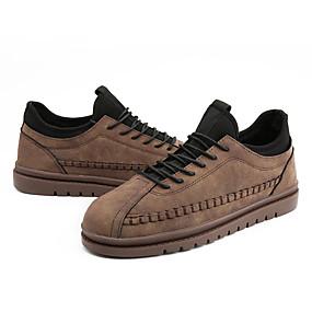baratos Tênis Masculino-Homens Sapatos Confortáveis Couro Ecológico Outono Casual Tênis Não escorregar Preto / Cinzento / Khaki