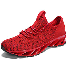 cheap Running Shoes-Men's Comfort Shoes Knit Fall Sporty / Casual Athletic Shoes Running Shoes Massage White / Black / Red