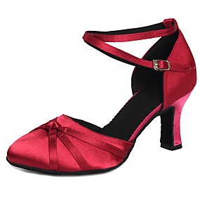 billige Moderne sko-Dame Moderne sko Sateng Høye hæler Sløyfe / Spenne Kubansk hæl Kan spesialtilpasses Dansesko Fuksia