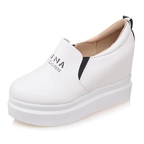 voordelige Damesinstappers & loafers-Dames PU Lente Loafers & Slip-Ons Verborgen hiel Wit / Zwart / Beige