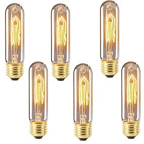 billige Glødelampe-6pcs 40 W E26 / E27 T10 Varm hvit 2200-2700 k Kontor / Bedrift / Mulighet for demping / Dekorativ Glødende Vintage Edison lyspære 220-240 V