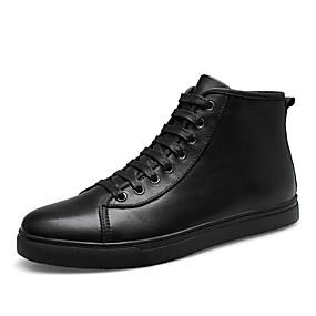 baratos Tênis Masculino-Homens Sapatos de couro Pele Napa Inverno Clássico / Casual Tênis Caminhada Manter Quente Preto