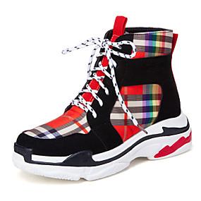 voordelige Damessneakers-Dames Satijn Herfst winter Informeel / Studentikoos Sneakers Wandelen Sleehak Ronde Teen Zwart / Beige / Kleurenblok