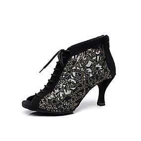 1ed8b21094fcb نسائي أحذية عصرية   صالة الرقص المواد التركيبية بووتس (أحذية) دانتيل كعب  ستيلتو مخصص أحذية الرقص أسود   جلد