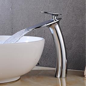 abordables Offres de la Semaine-Robinet lavabo - Jet pluie Chrome Set de centre Mitigeur un trouBath Taps