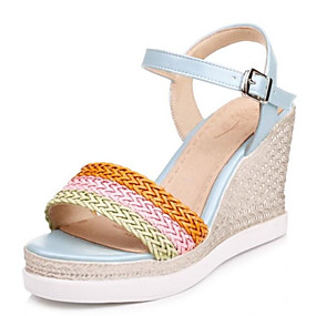 cheap Women's Wedges-Women's PU(Polyurethane) Spring Sandals Wedge Heel White / Pink / Light Blue