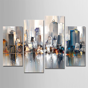 cheap Multi Panel Art-Hand-Painted Canvas Oil Painting Abstract City Landscape Set Of 4 For Home Decoration With Frame Ready To Hang