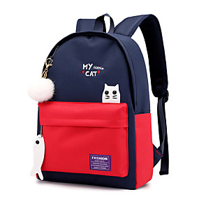 cheap Intermediate School Bags-Women's / Girls' Bags Oxford Backpack Feathers / Fur Color Block Black / Red