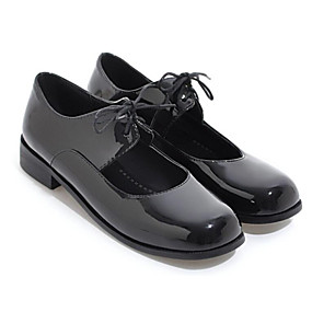 voordelige Damesschoenen met platte hak-Dames Lakleer Lente Platte schoenen Blokhak Wit / Zwart