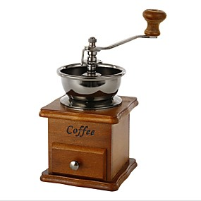 cheap Coffee and Tea-Wooden Coffee Bean Spice Vintage Style Hand Grinder Random Color