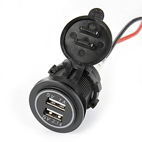 abordables Cargadores para Coche-Cargador de auto impermeable doble usb auto cargador de coche lossmann 5v 2.1a