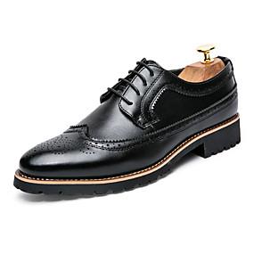 baratos Oxfords Masculinos-Homens Sapatos formais Couro Sintético / Tissage Volant Primavera Verão Casual Oxfords Caminhada Respirável Preto