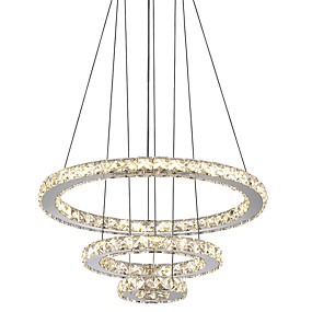 cheap 60% OFF-Circular Chandelier Ambient Light Electroplated Metal Crystal, LED 110-120V / 220-240V Cold White / Yellow LED Light Source Included / LED Integrated