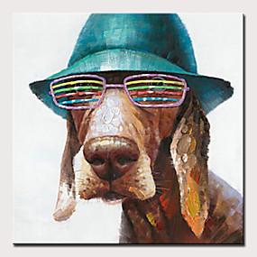 hesapli Hayvan Resimleri-Hang-Boyalı Yağlıboya Resim El-Boyalı - Soyut / Pop Art Modern Iç çerçeve olmadan