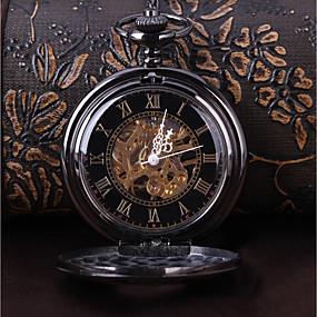 povoljno Muški satovi-Muškarci Sat kostur Džepni sat Mehanički na navijanje Crna Casual sat Cool Analog Vintage Ležerne prilike Steampunk - Crn