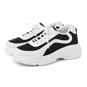 baratos Sapatos Esportivos Femininos-Mulheres Couro Ecológico Outono Tênis Creepers Preto / Vermelho